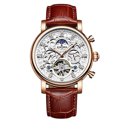 Automatic Tourbillon Watch With Moon Phase And Auto Date - GiftWorldStyle - Luxury Jewelry and Accessories