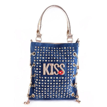 "Women's Bag "" KISS "" Letters Rivet And Rhinestones - GiftWorldStyle - Luxury Jewelry and Accessories"