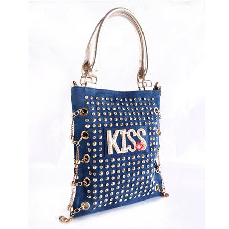 "Women's Bag "" KISS "" Letters Rivet And Rhinestones"