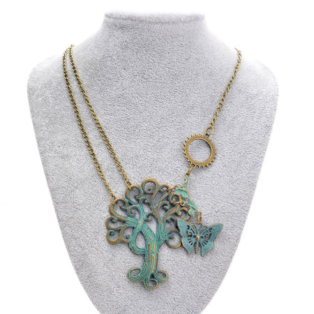 Steampunk Necklace With Green Brass Paisley Tree and Butterfly