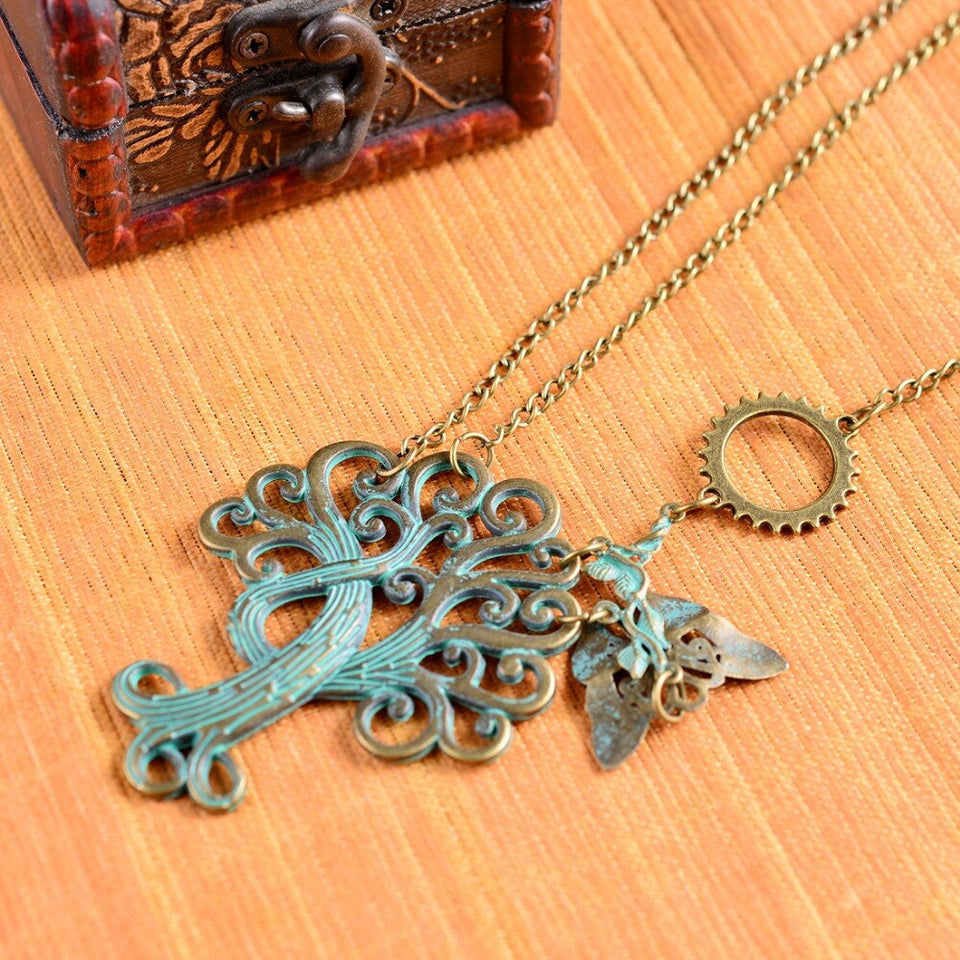 Steampunk Necklace With Green Brass Paisley Tree and Butterfly - GiftWorldStyle - Luxury Jewelry and Accessories