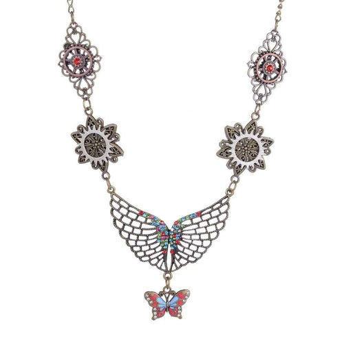 Vintage Steampunk Necklace For Women With Colorful Butterfly,Wing - GiftWorldStyle - Luxury Jewelry and Accessories