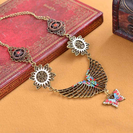 Vintage Steampunk Necklace For Women With Colorful Butterfly,Wing