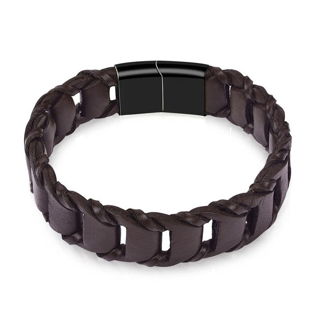 Genuine Leather Bracelet Men Brown Black Rope Chain Stainless Steel Clasp Magnetic Punk Jewelry Cool