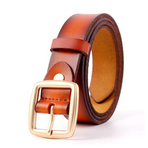 Vintage Metal Cowskin Leather Belts Women Strap Female Pin Buckle Fashion Women Belts