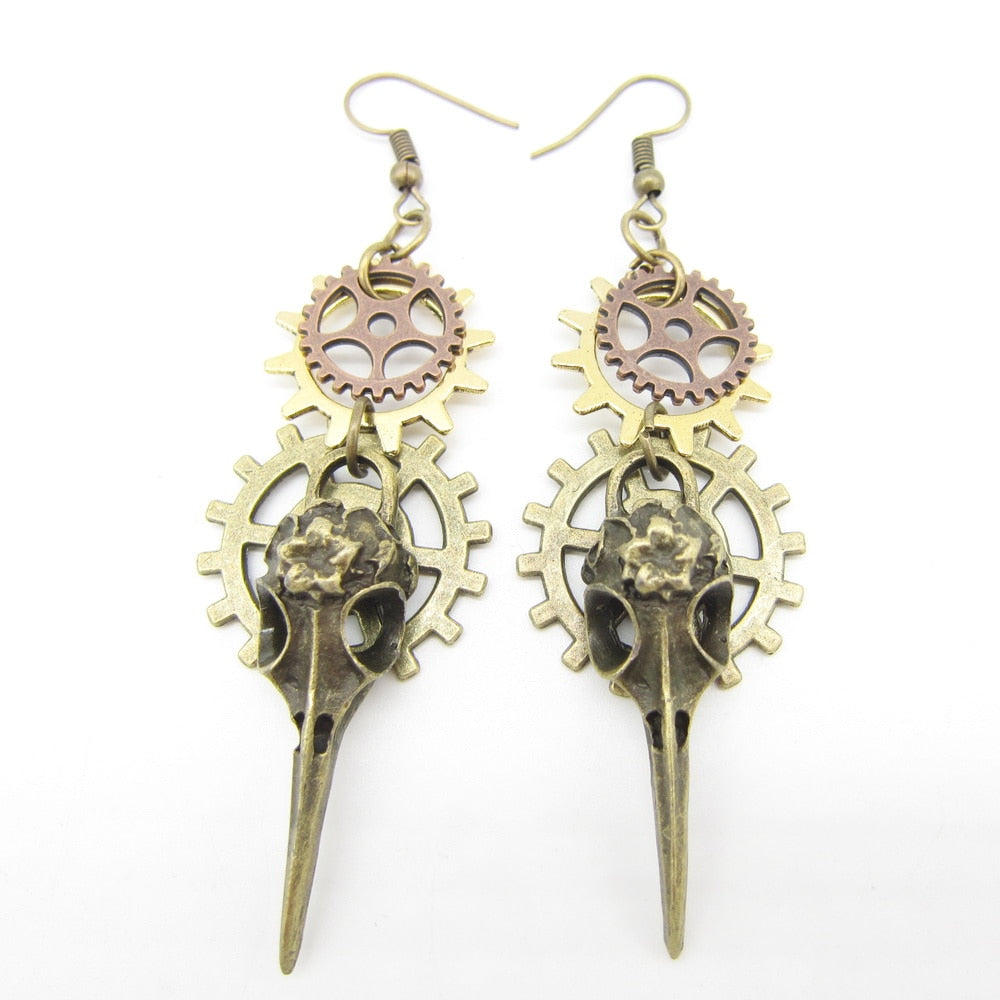 Fashionable Steampunk Earring With Phoenix Head and Multi Gears - GiftWorldStyle - Luxury Jewelry and Accessories