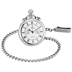 Quartz Silver Pocket Watch With Roman Number,Chain - GiftWorldStyle - Luxury Jewelry and Accessories