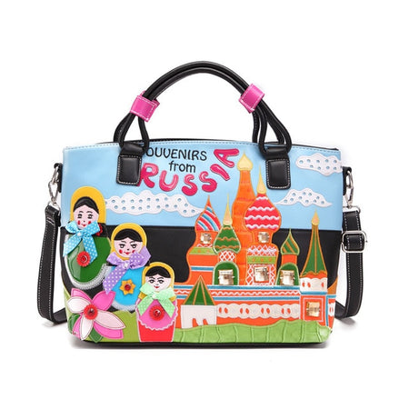 "Cross Body Bag For Women With Cartoon "" Russia """