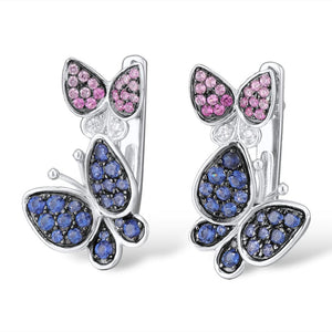 Silver Jewelry Set Women Elegant Blue Pink Stones Butterfly Earrings Ring 925 Sterling Silver Chic