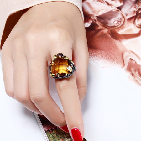 Vintage Black Gold Rings for Women Big Light Brown Color CZ Zirconia Wedding Party Jewelry