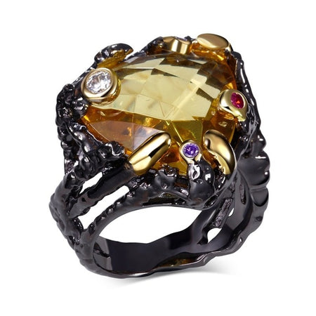 Vintage Black Gold Rings for Women Big Light Brown Color CZ Zirconia - GiftWorldStyle - Luxury Jewelry and Accessories