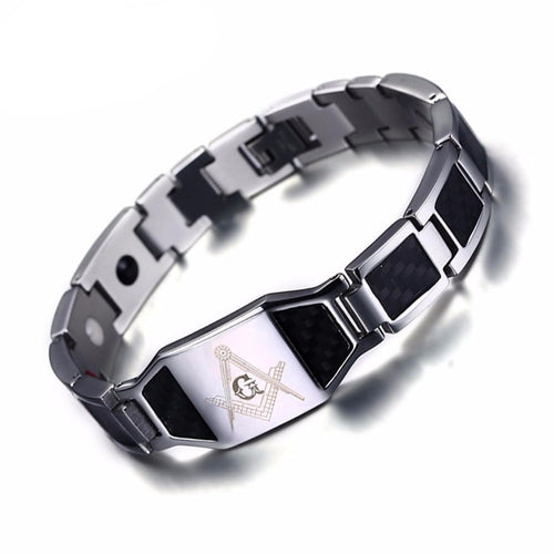 Men's Magnetic Bracelets From Carbon Fiber Chain And Pearl-clasps
