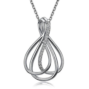 Braided CZ Pendant Necklace for Women