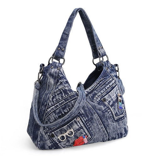 Women's Handbag Denim With Pockets And Lip Applique