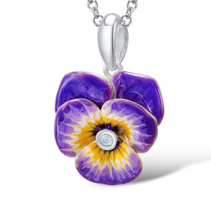 Jewelry Set Enamel Purple Flower CZ Stone Ring Earrings Pendent Necklace 925 Sterling Silver Women
