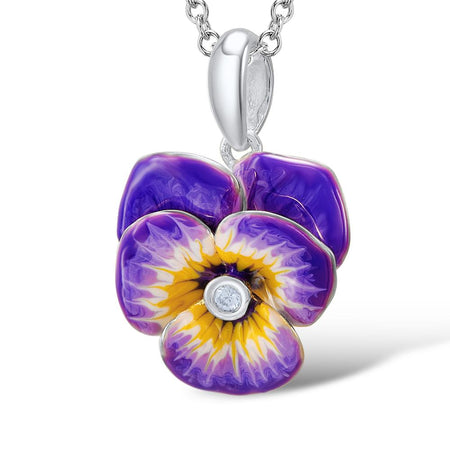 Jewelry Set With Enamel Purple Flower And CZ Stone - GiftWorldStyle - Luxury Jewelry and Accessories