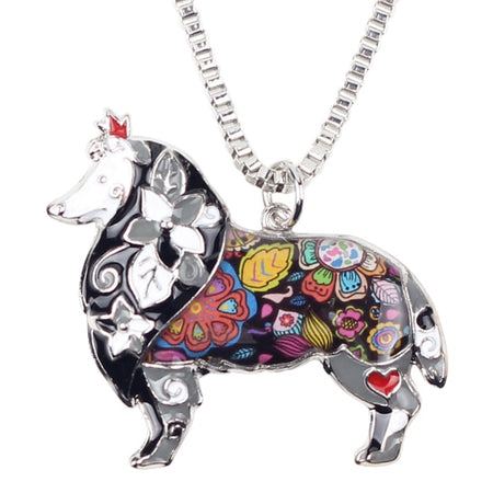 Maxi Statement Metal Alloy Border Rough Collie Dog Choker Necklace Chain Collar Pendant Enamel