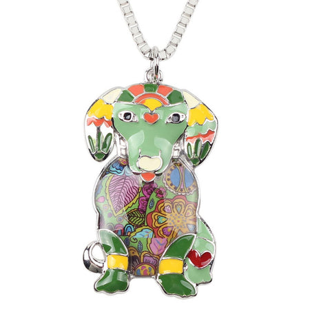 Colorful Labrador Necklace With Chain Collar From Enamel Alloy - GiftWorldStyle - Luxury Jewelry and Accessories