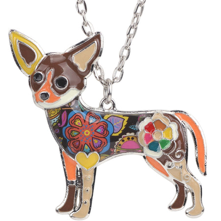 Maxi Statement Metal Alloy Chihuahuas Dog Choker Necklace Chain Collar Pendant