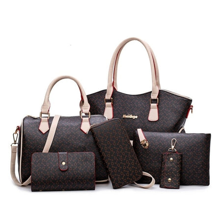 Women Bags Leather Handbags Shoulder Bag Female Purse 6 Piece Set Designer Freya - GiftWorldStyle - Luxury Jewelry and Accessories