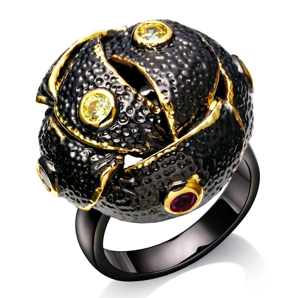 Braided Dome Shape Gothic Ring for Women Black Gold Color Olivine Red CZ Anniversary