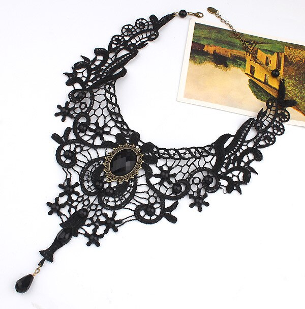 Gothic Flowers Lace Bib Choker - GiftWorldStyle - Luxury Jewelry and Accessories