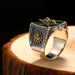 Vintage 925 Sterling Silver Masonic Rings Men Gold Sun Moon Making Punk Handmade High Polished Silver Jewelry