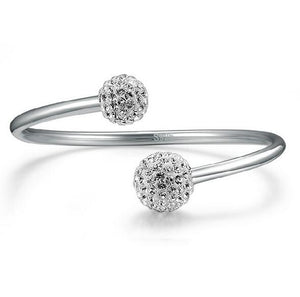 Spherical Beads Adjustable Bracelet Bangle - 925 Sterling Silver