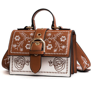 Embroidery Women Bag With PU Leather And Buckle - GiftWorldStyle - Luxury Jewelry and Accessories