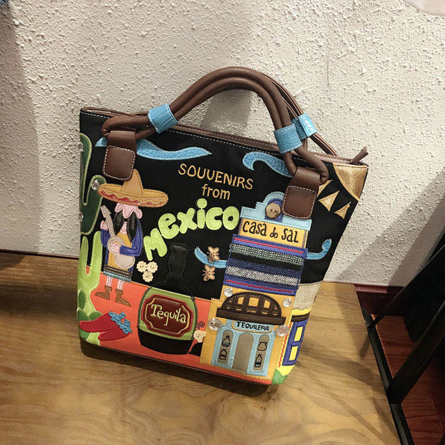 "Women's Printing Canvas Bag ""Souvenir From Mexico"" - GiftWorldStyle - Luxury Jewelry and Accessories"