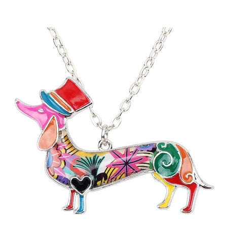 Statement Metal Enamel Hat Dachshund Dog Necklace Choker Chain Collar Pendant Elegant Animal Jewelry