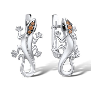 Silver Lizard Jewelry Set Champagne CZ Stones Ring Earrings Pendant Set 925 Sterling Silver