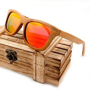 Vintage Bamboo Wooden Sunglasses - Polarized, Mirror