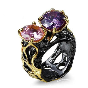 CZ Solitaire Jewelry Vintage  Anillos Mujer Anel Black Gold Color Women Rings