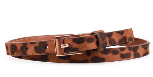 Women's Belt Leopard Print Belt With Glod Pin Buckle Straps - GiftWorldStyle - Luxury Jewelry and Accessories
