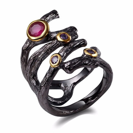 Gothic Hollow Ring for Women Rolling Braided Jewelry Fuchsia Purple CZ Vintage Black Color