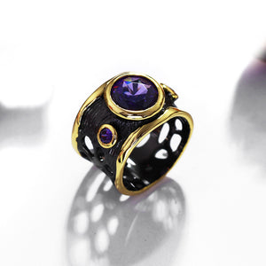 Vintage Jewelry Ring for Women Gothic Black Gold Color Hip Hop Purple CZ Punk Hollow Wedding