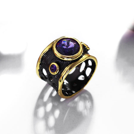 Vintage Gothic Ring for Women - Black Gold, Purple CZ - GiftWorldStyle - Luxury Jewelry and Accessories