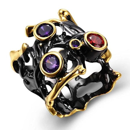 Hip Hop Purple Red CZ Gothic Black Gold Hollow Parties Jewelry Vintage Rings