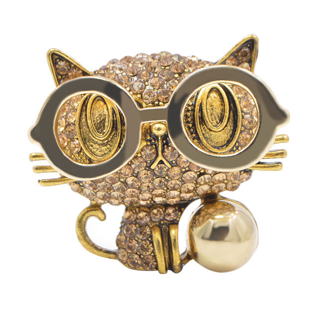 Wear Glasses Cute Cat Brooches For Women
