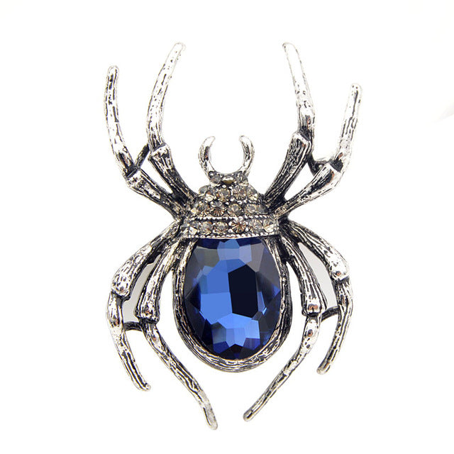 Women Classic Spider Brooches With Pins And Green Stone