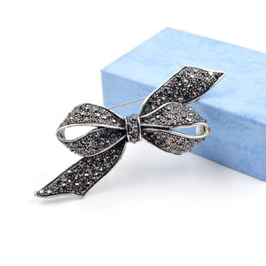Elegant Rhinestone Bow Brooch Pin For Women