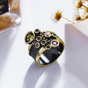 Vintage Women Ring Multi Shape Colorful CZ Wedding Engagement Jewelry Gold Color Antique