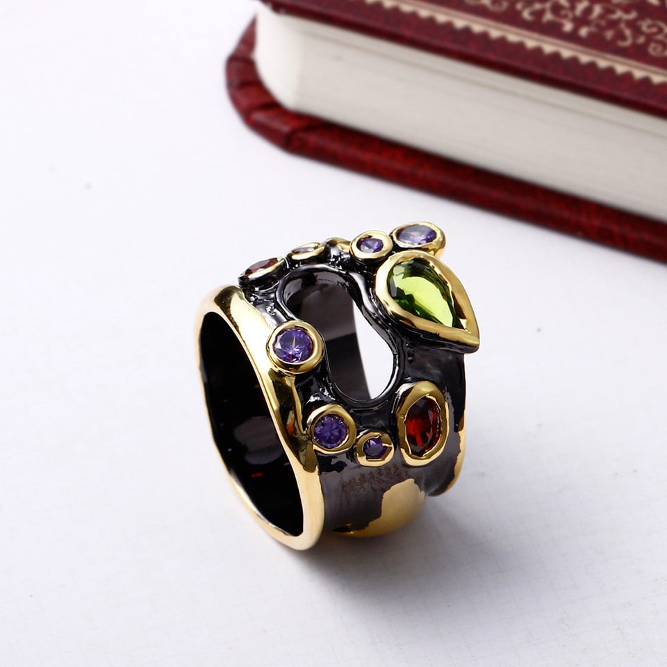 Olivine Red Purple Color CZ Rings For Women Neo-Gothic Hollow