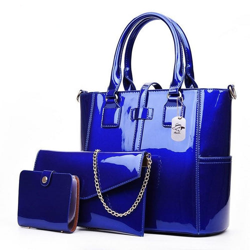 Patent Leather Women Composite Bag 3 Sets Designer Shoulder Bag Ladies Messenger Bag Cards Wallet Tote - GiftWorldStyle - Luxury Jewelry and Accessories