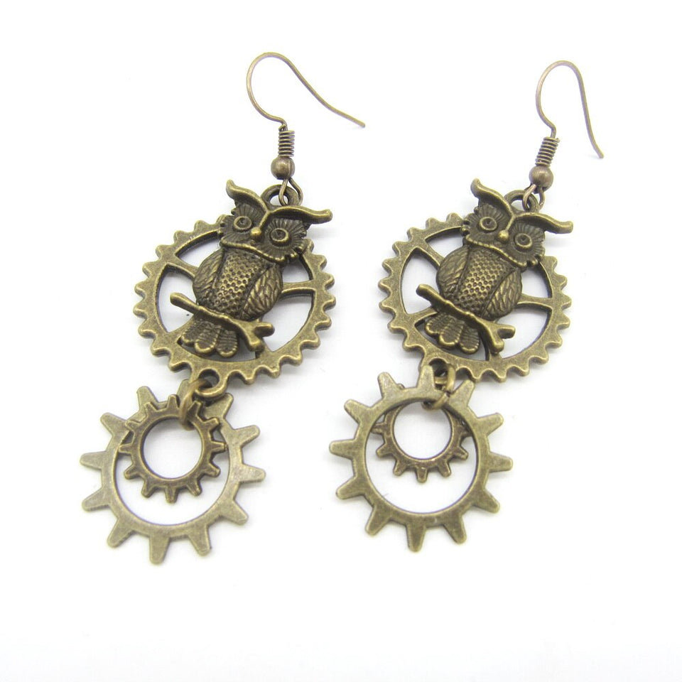 Female`s Steampunk Earrings With Owls with Dangle Gear Rings - GiftWorldStyle - Luxury Jewelry and Accessories