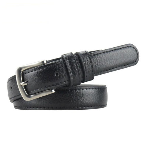 Thin Women's Leather Belt Metal Pin - GiftWorldStyle - Luxury Jewelry and Accessories