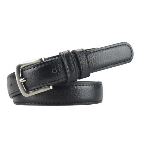 Thin Women's Leather Belt Metal Pin