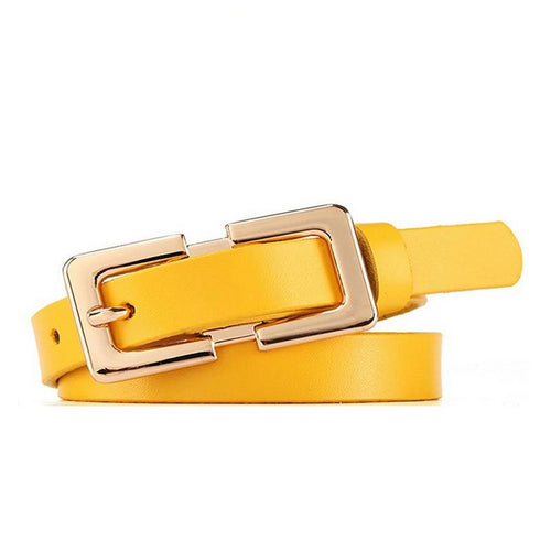 Women's Leather Belt Golden Metal Pin
