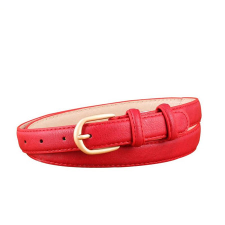 Thin Belt for Women Gold Pin Buckle PU Leather